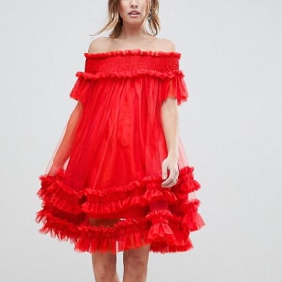 c62de6a233 Asos Bardot tulle off shoulder dress